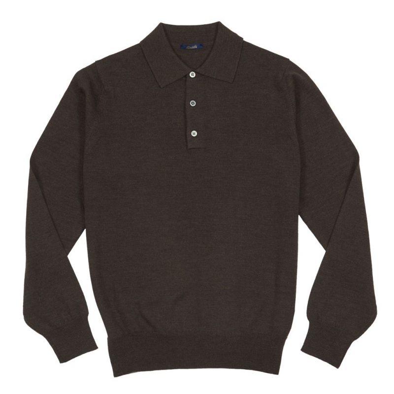 Sweter Polo Zaremba 100% Merino Brązowy