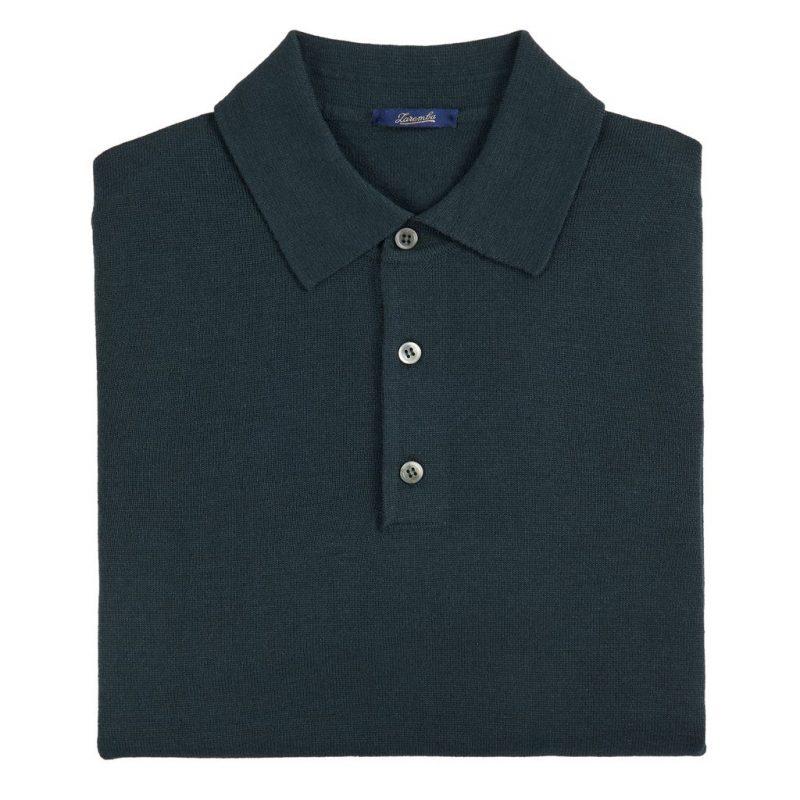 Sweter Polo Zaremba 100% Merino Zielony